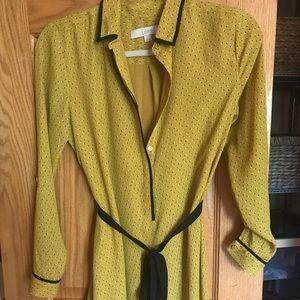 Long sleeve mustard yellow wrap dress loft